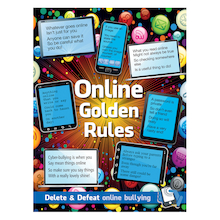 Online Safety Golden Rules Sign and Poster  medium