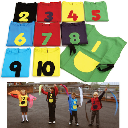Colourful Number Tabards 1\-10  large