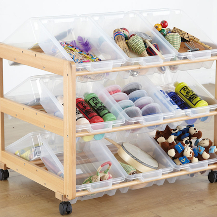 Mobile Wooden Tilted Tray Storage 18 Trays  large