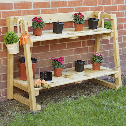 Outdoor Wooden Tiered Shelving Units  large