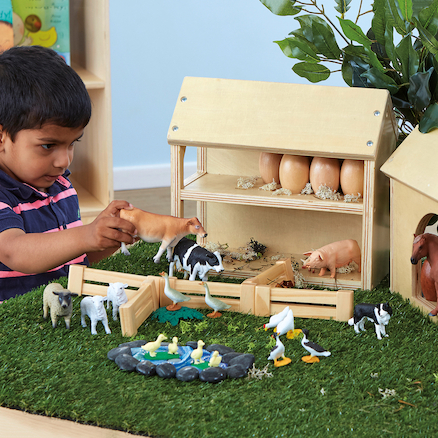 Wooden Farm Buildings Small World Play Set  large