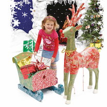 Giant Papier Mache Santa's Reindeer and Sleigh  medium