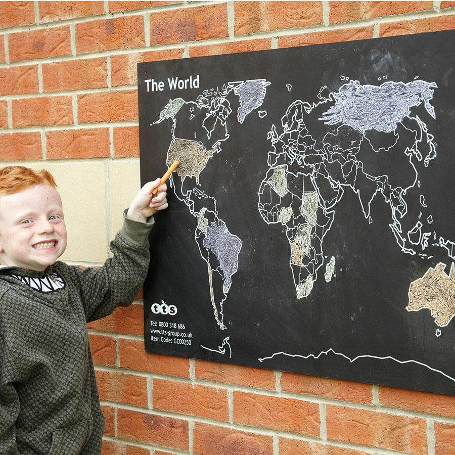 buy world map outdoor chalkboard h60 x w80cm tts