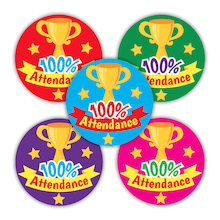 100% Attendance Stickers  medium