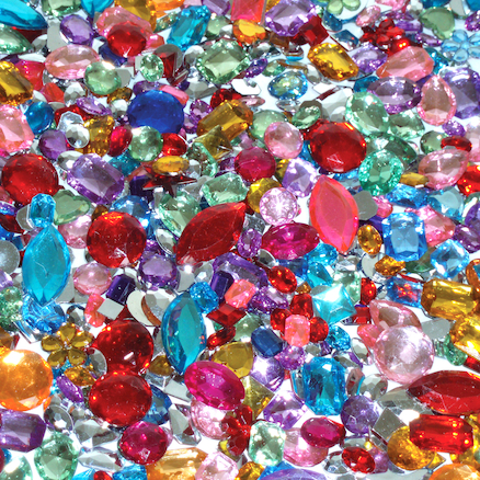 Acrylic Mirror Backed Plastic Gem Stones  large