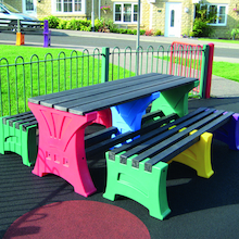 Recycled Plastic Coloured Table and Benches Set  medium