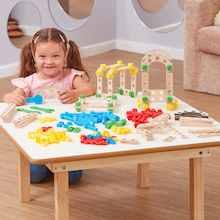 Wooden Construction Blocks with Nuts and Bolts  medium