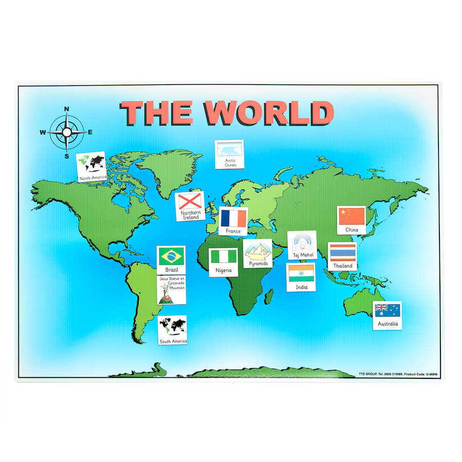 Australia Map Landmarks.Magnetic World Map And 50 Illustrated Pieces A3