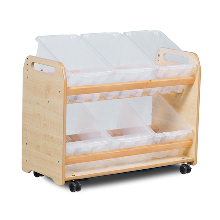 Tilted Tub Wooden Storage Trolley  large
