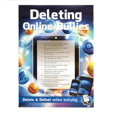 Delete And Defeat Online Bullying Sign and Poster  large