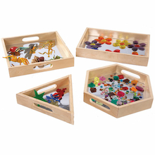 Wooden Mirror Sensory Trays 4pk  medium