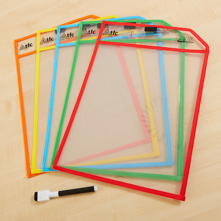 Clear Write and Wipe Work Storage Pockets  large