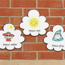 Spanish Weather Vocabulary Playground Signs  medium