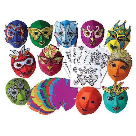 Decorate Your Own Mardi Gras Carnival Masks 30pk  large