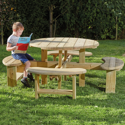 Outdoor Round Wooden Picnic Bench  large
