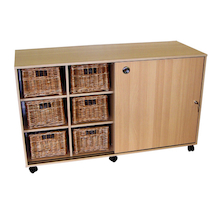 Sliding Doors Storage with 12 Deep Wicker Baskets  medium