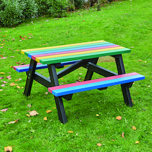 Junior Sized Recycled Plastic Rainbow Picnic Bench  medium