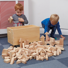 Wooden Construction Blocks in a Cart 224pcs  medium