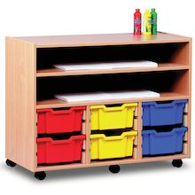 Paper Storage Wooden Trolley With Trays  medium