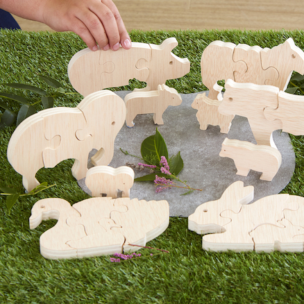 Parent and Baby Wooden Animal Puzzles  large