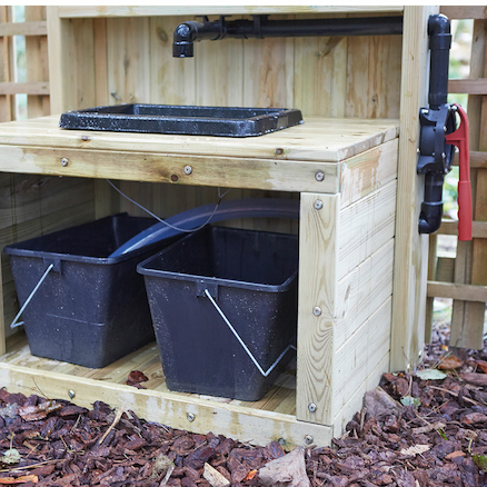 Outdoor Wooden Sink with Pump  large