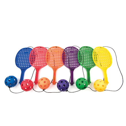 Plastic Playground Bat with Ball on String 6pk  large