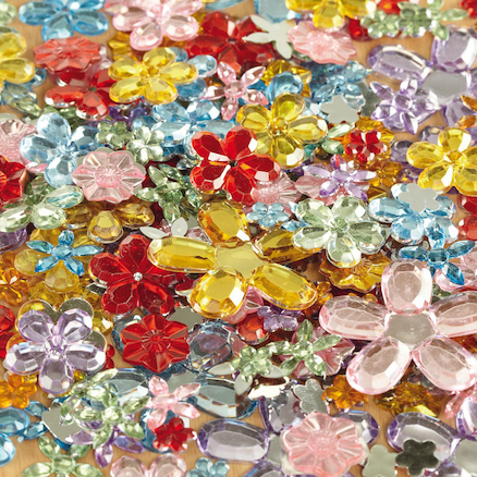 Assorted Sparkling Flower Plastic Jewels 300pk  large