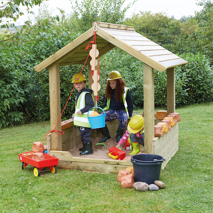 Wooden Outdoor Sandpit with Roof  large