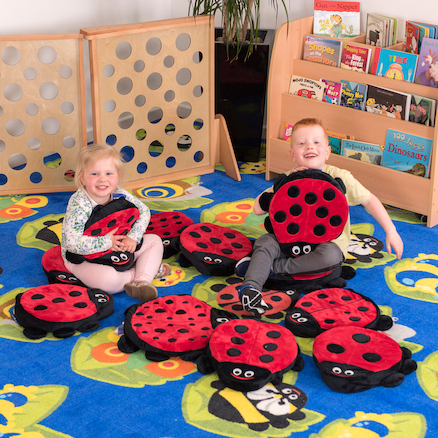 Back to Nature Square Rug and Ladybird Cushions  large