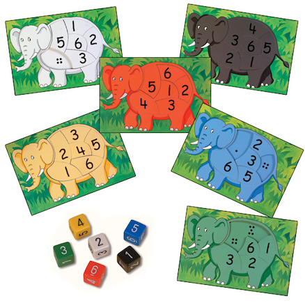 Rainbow Elephant Jigsaws 6pk  large