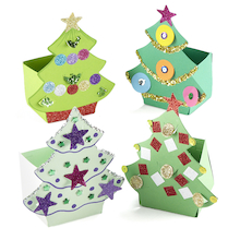 Precut Card Christmas Tree Gift Boxes 30pk  medium