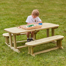 Outdoor Wooden Table & Benches  medium