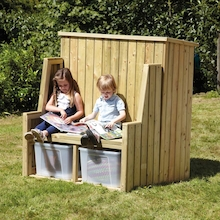Outdoor Wooden Seating and Storage Bench  medium