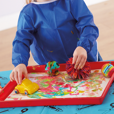 Plastic Coloured Mark Making Messy Art Trays  large
