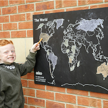 World Map Outdoor Chalkboard H60 x W80cm  medium