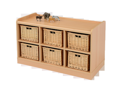 Storage Unit with Deep Wicker Baskets  large
