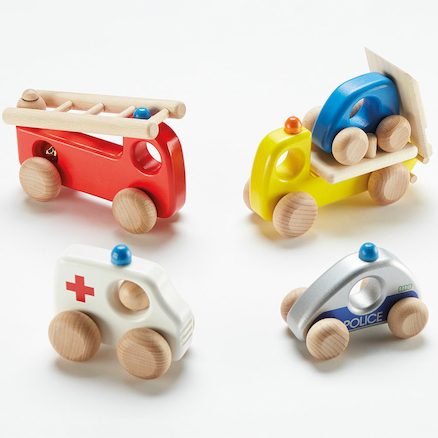Wooden Small World Emergency Vehicles 4pcs  large