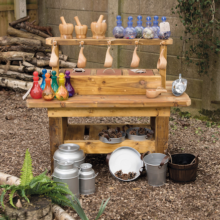 Outdoor Wooden Messy Concoctions Bench  large