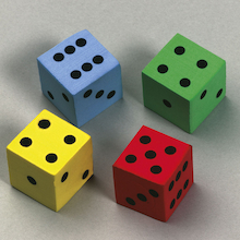 Multi Coloured Foam Silent Dice  medium