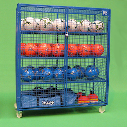 Lockable Mobile Ball Storage Cabinet H1.5 x W1.4m  large
