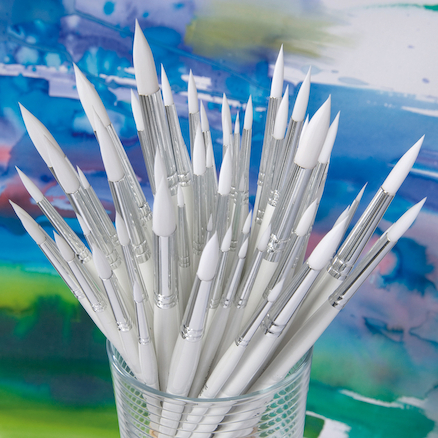 White Handled Round White Nylon Paint Brushes 60pk  large