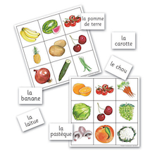Fruit and Vegetables French Vocabulary Bingo Game  medium