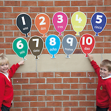 Numbers Spanish Playground Signs  medium