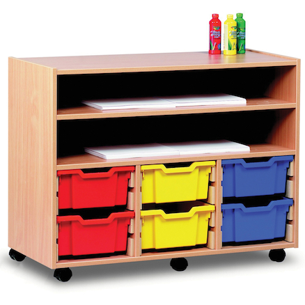 Paper Storage Wooden Trolley With Trays  large