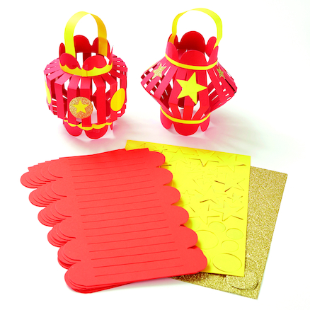Precut Red Card Chinese New Year Lanterns 30pk  large