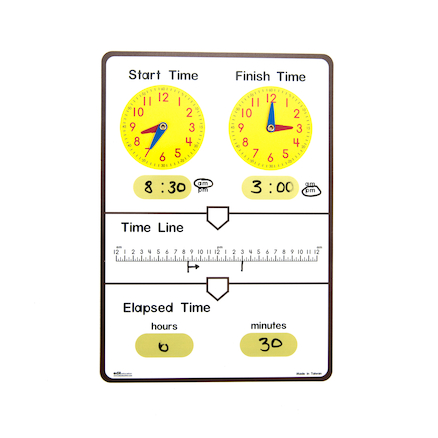 Tell Elapsed Time Dry Erase Board pk 10  large