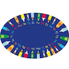 Pencils Alphabet Floor Mat Oval  small