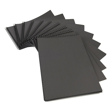 Black Paper Spiral Sketchbook 100gsm A4 10pk  large