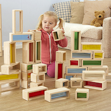 Rainbow Wooden Building Bricks 36pcs  medium