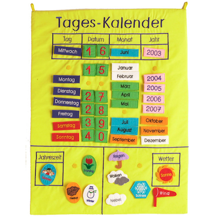 My Calendar German Fabric Wall Hanging  large